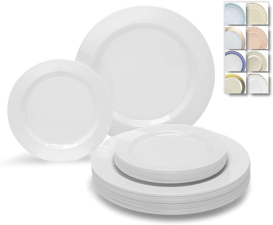 """"""" OCCASIONS"""" 50 Plates Pack (25 Guests)-Heavyweight Wedding Party Disposable Plastic Plate Set -25 x 10.5'' Dinner + 25 x 7.5'' Salad/Dessert plates (Plain White): Kitchen & Dining"""