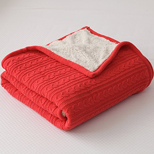 CottonTex Cotton Knitted Blanket Lined with Sherpa Lining Super Soft Warm Cover for Bed Sofa Counch, 47x70 Inches, Red (Antique Wool Blanket)