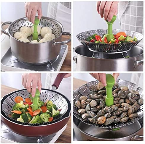 51qw6ik1YeL. AC Steamer Basket, Kmeivol Vegetable Steamer Basket, Stainless Steel Vegetable Steamer, Steamer Pot with Extendable Handle for Steaming Food, 5-9 Inch Expandable Veggie Steamer to Fit Various Size Pot    Kmeivol Steamer basket: Steamer basket is made of high quality food grade material, it can steam variety of foods. Vegetable steamer basket is Ideal for steaming food without losing nutrient. Vegetable steamer collapseable design can expands and adjusts to various pots. Steamer pot not only can be used to steam food, but also can be used as a strainer or fruit container. Veggie steamer is a great cooking choice, makes us enjoy easier cooking at home.