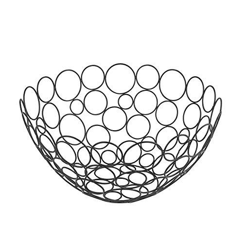 Spectrum Diversified Shapes/Circles Round Fruit Bowl, Black