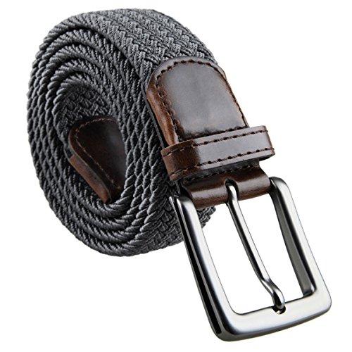 Moonsix Elastic Braided Belts for Men Women,PU Leather Stretch Web Belt Buckle ,Style 2-Dark Grey - Web Leather