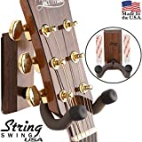 String Swing CC62K-BW Adhesive Guitar Hanger and No Holes Guitar Wall Mount Bracket Holder for Acoustic and Electric Guitars Black Walnut