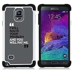 - quote marks funny grey black poster - - Doble capa caja de la armadura Defender FOR Samsung Galaxy Note 4 SM-N910 N910 RetroCandy