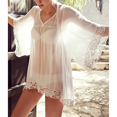 MG Collection Sheer Chiffon Lace Trim Flowy Sleeves Beachwear Swimsuit Cover Up