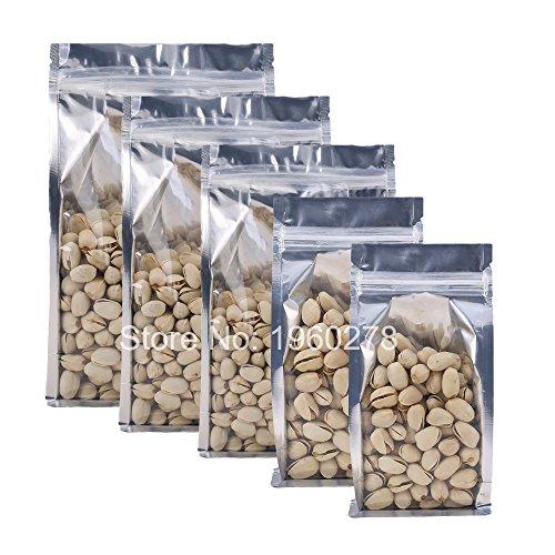 Generic l, NA: Multi taglie per Stand Up sacchettini traslucido piatto fondo argento espandibile con zip, lati richiudibili imballaggio bag 100pcs