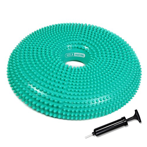 Air Stability wobble cushion- FREE hand pump and exercise manual-therapy, exercise, injury rehabilitation, sensory cushion for chair (Blue, 15 inch) - Rock Ankle Exercise Board