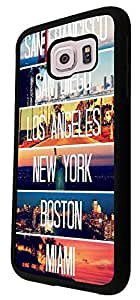 US Cities New York Miami Los Angeles 189 Design Samsung Galaxy S6 I9700 Fashion Trend Case Back Cover Plastic/metal