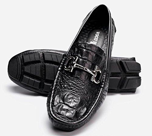 Happyshop Mens Crocodile Cuir Chaussures Boucle Mocassin Confort Slip-on Chaussures De Marche Mocassins Noir