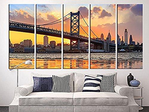 EZON-CH Large Canvas Print Philadelphia Ben Franklin Bridge Skyline Extra Large Skyline Philadelphia Wall Art Print 60 Inch Total