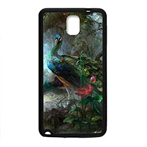 Beautiful Peacock In The Forest Black Phone Case for Samsung Galaxy Note3