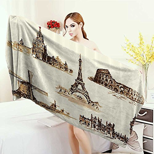 Anhounine Bathroom Towels Ancient European Landmark Traveller Tourist Cities Italy France Spain Sketchy Image Bath Pool Shower Towel for Kids 55''x27.5'' Brown and Cream by Anhounine