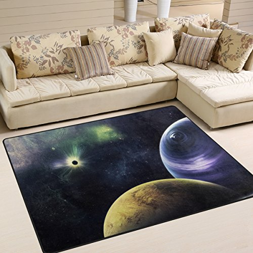 Soft Doormats 7'x5' (80x58 Inches) Area Rugs Triangulum Galaxy Outer Space Black Non-Slip Floor Mat Resting for Living Room Bedroom