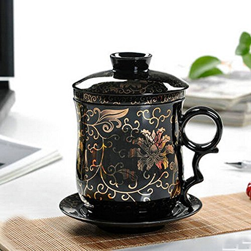 XIDUOBAO Special Plum Blossom Chinese Style Porcelain Handmade Kung Fu Tea Cup,Ceramic Tea Cup With Loose Leaf Tea Brewing System – Beautifully Design…