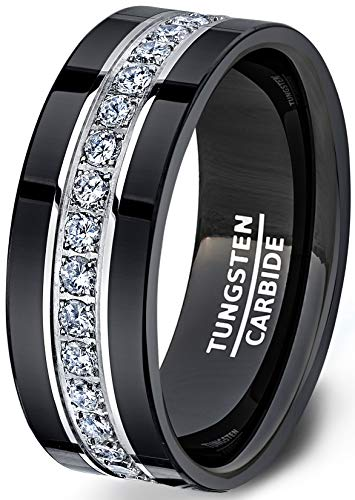 Duke Collections Mens Wedding Band Black Tungsten Ring Fully Stacked with Cubic Zircon Comfort Fit (6)