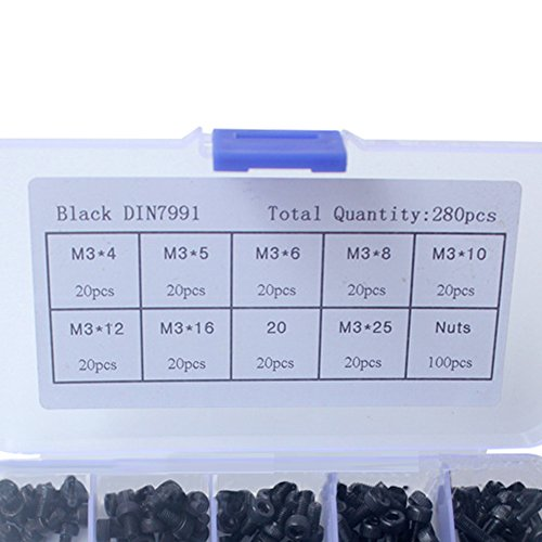 Decha 240 pcs Black Cylindrical Hexagon Screw and Nut Set 10 Sizes with10 Grids Assortment Box-Fasteners Tool Kit by Decha (Image #1)