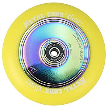 Metal Core Rueda Disc para Scooter Freestyle, Diámetro 100 mm (Amarillo): Amazon.es: Deportes y aire libre