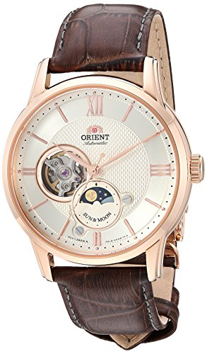 Orient Men's 'Sun and Moon Open Heart' Japanese Automatic Stainless Steel and Leather Dress Watch, Color:Brown (Model: ()