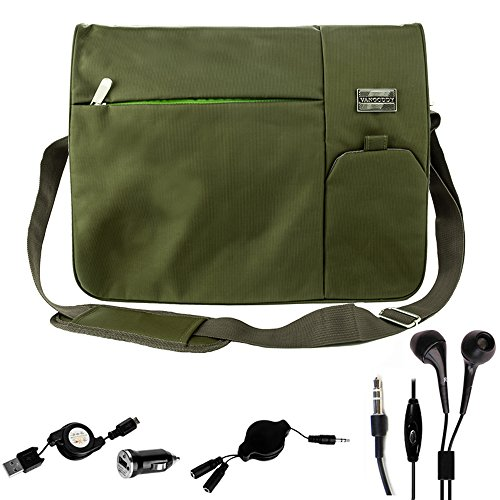 Outdoor Travel Pack Olive Green for Dell Notebook 11.6 inch 15.6 inch Chromebook, Alienware, Inspiron 13, 14, 15, LatituVostro 14, de 13, XPS 15 and Splitter Cord and USB Cable and USB Car Charger