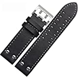 MSTRE NP125 22mm Watch Band Suitable for Hamilton Watches with Steel Buckle for Men&Women (22mm, WBlack)