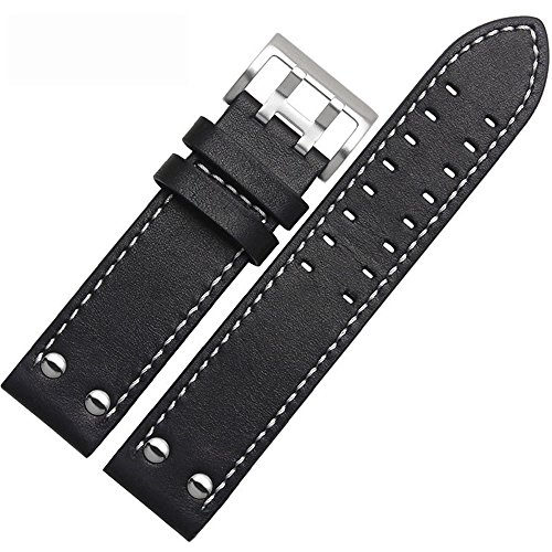 MSTRE Unisex Leather Watch Band with Steel Buckle Compatible with Hamilton Watches-NP125 (22mm, WBlack) (Lady Hamilton Watch)