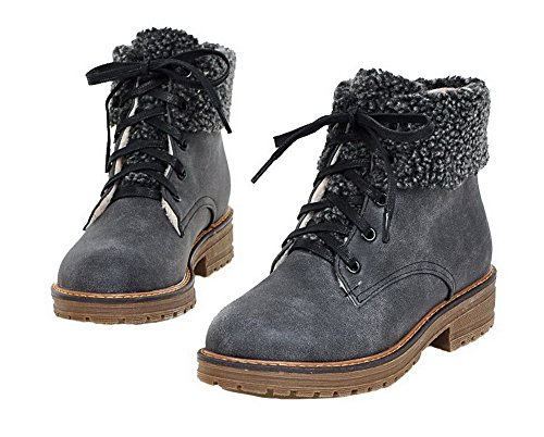 Lacet Haut Demi Ageemi Pu Femme Cuir Couleur Shoes Unie xqBnZ4w7zn