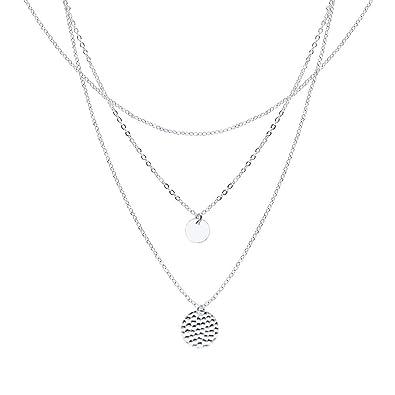 fceff9a50fd36 WikiMiu Collier Multirang Ras de Cou Femme avec Pendentif Rond, Bijoux  Fantaisie Cadeau pour Anniversaire