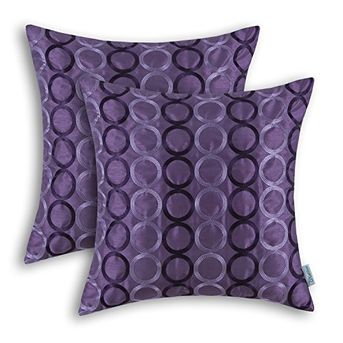 CaliTime Pack of 2 Faux Silk Throw Pillow Covers Cases for Couch Sofa Home Decor Two-Tone Circles Rings Geometric Chain Embroidered 18 X 18 Inches Purple