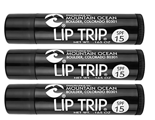 Mountain Ocean Lip Trip SPF 15 Lip Balm (Pack of 3) with Apricot Kernal Oil, Sesame Oil, Aloe Vera and Cocoa Butter, 0.17 oz. each ()