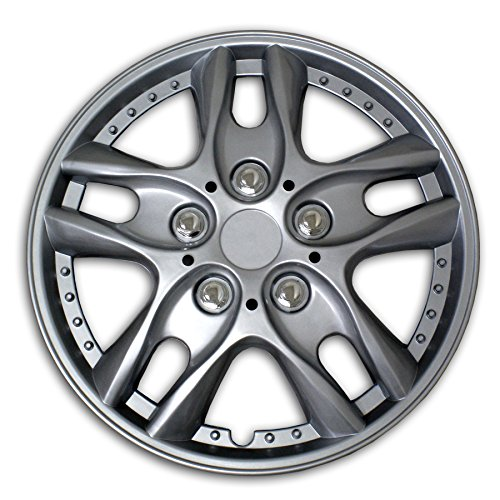 TuningPros WSC2-001S16 Hubcaps Wheel Skin Cover Type 2 16-Inches Silver Set of 4 (Hubcaps 2007 Nissan Altima compare prices)