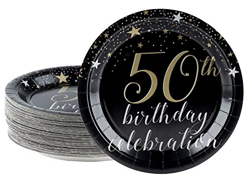 Disposable Plates - 80-Count Paper Plates, 50th Birthday Party Supplies for Appetizer, Lunch, Dinner, and Dessert, 9 x 9 (50 Great Appetizers)