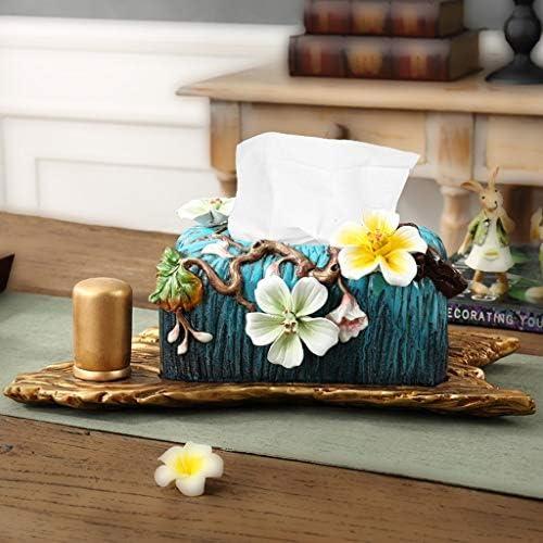 GYCOZ Wohnzimmer-Tablett mit Keramik-Tissue-Box im europäischen Stil mit Zahnstocherbox Stitching-Tissue-Box Tissue Box Cover Gesicht