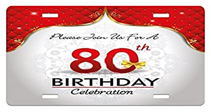 Zaeshe3536658 80th Birthday License Plate Party Invitation With Abstract FloraBackdrop For Elderly People