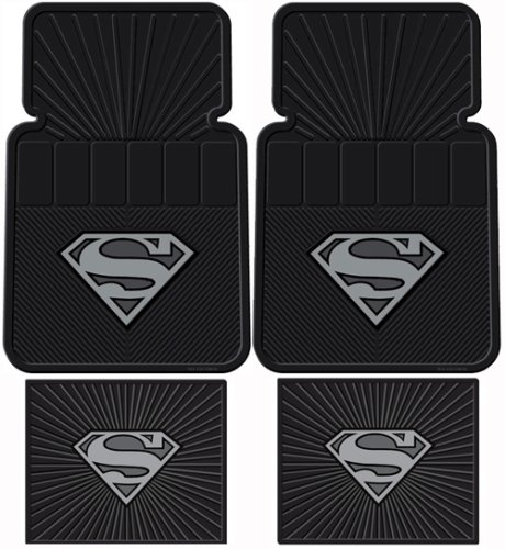 superman dc comics silver flake front rear rubber car floor mat set buy online in uae. Black Bedroom Furniture Sets. Home Design Ideas