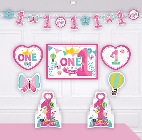 1st Birthday Girl Decorations Kit - Blue 1st Butterfly and Number One Star Banner - Large Animal Lion , Toy card stock cutouts - Multi Colored , Pink , 18-Piece (Cards Birthday Stock)