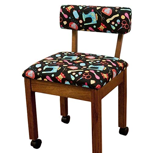 Arrow Wooden Scalloped Base Sewing Chair with Riley Blake Upholstery - Oak Arrow Table