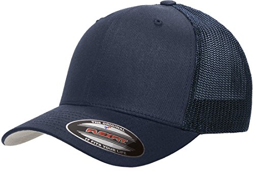 Flexfit Trucker Hat for Men and Women | Breathable Mesh, Stretch Flex Fit Ballcap w/Hat Liner (Navy)
