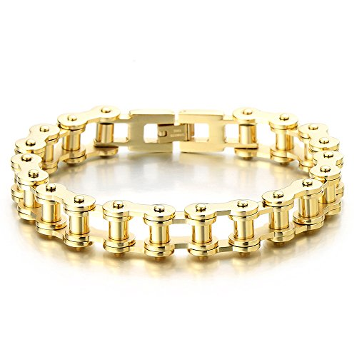 Exquisite mens gold bike chain bracelet of stainless steel for What is gold polished jewelry