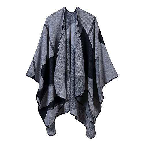 (Women's Kintted Cashmere Poncho Cape Cardigan Shawl Vintage Splice Pattern Reversible Wrap (Black Gray))