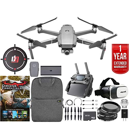 DJI Mavic 2 Zoom Drone Mobile Go Kit with 24-48mm Optical Zoom Camera CMOS Sensor and One Year Warranty Extension, Landing Pad, VR FPV Goggles, Backpack, Memory Card Filters & Software Bundle (Photography Map Aerial)
