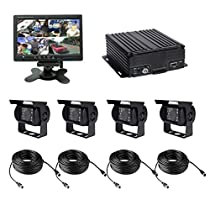 4 Channel AHD 720P H.264 HDD Vehicle Surveillance Camera System with 4 Waterproof HD 720P Car Cameras with IR Night Vision, 7