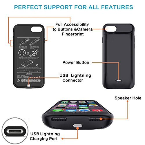 iPhone 6 6s 7 8 Battery Case5000mAh Rechargeable External Battery handheld power Charger Protective Chargre claim help support Headphones extra narrow Extended Battery Battery Charger Cases