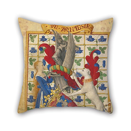 Slimmingpiggy Oil Painting Jean Fouquet (French, Born About 1415 - 1420, Died Before 1481) - Coat Of Arms Held By A Woman And A Greyhound Throw Cushion Covers 16 X 16 Inches / 40 By 40 Cm For Saloo