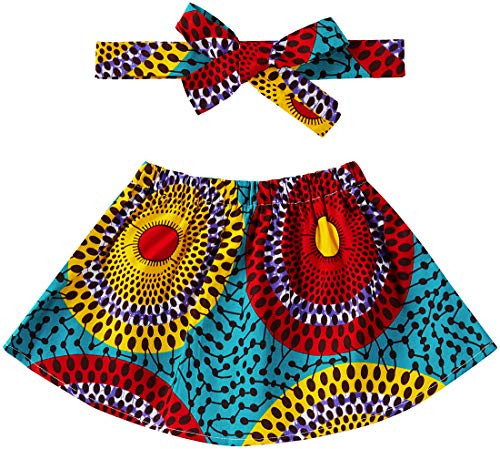 Aikaplus Baby Girl African Print Skirt Dsahiki Tradition Clothing (Small, Color A)