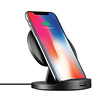 Anjoron 7.5W 10W Fast Foldable Wireless Charging Stand or Pad for iPhone 8 8 Plus X Xr Xs Max Samsung Galaxy S9 Note 8 S8 S7 Edge Note 5 etc with Built-in USB Output (No AC Adaptor Charger), Black