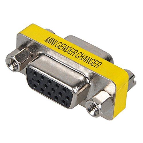 HD VGA//SVGA Female to 15 Female Mini Gender Changer for Connectors SVGA Gender Changer HD 15 1pc 15 Pin VGA