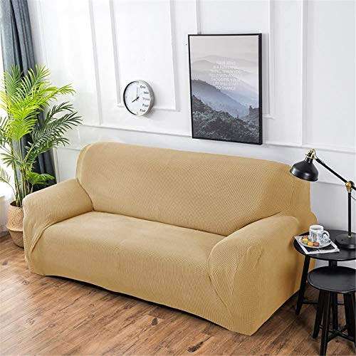 Hengwei Sectional Sofa Cover Stretch Couch Slipcover 1 Pcs DIY (Buy 2/3 for L / U Shape Sofa)-Soft Polyester Fabric Form Fit Furniture Protector for Kids Pets Home Gift(Beige, A-3 Seat 74-90in)