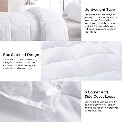 Merssa Down Alternative Microfiber Comforter 400 GSM Lightweight Duvet Insert Brushed Microfiber Fabric Machine Washable (Full/Queen - 88''X88'', Solid White) by Merssa (Image #5)