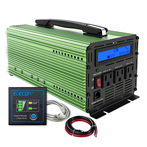 EDECOA 1000W Pure Sine Wave Power Inverter DC 12V to AC 110V Car Converter with LCD Display, Remote Controller and 3 AC Outlets