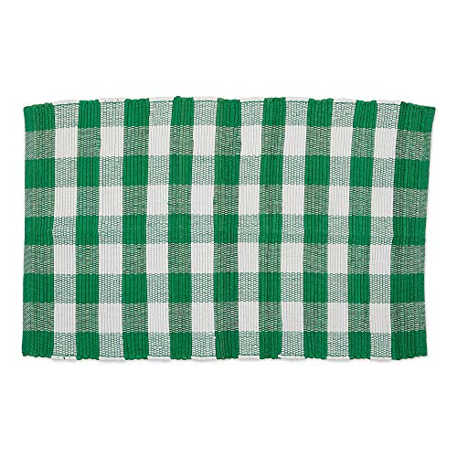 DII CAMZ11262 Indoor Handloomed Cotton Woven Reversible Buffalo Check Area Rug for Bedroom, Living Room, Kitchen, 26X40, Green & White