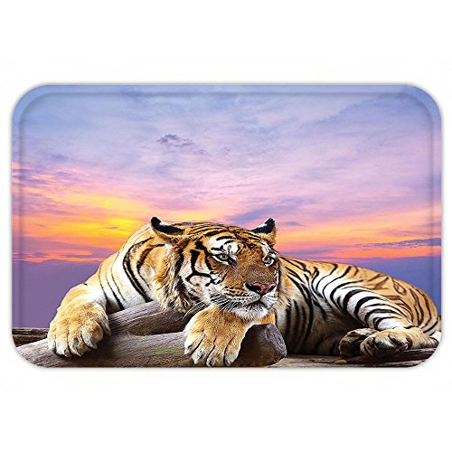 Funny Tiger Woods Costume (Kisscase Custom Door MatSafari Decor Collection Tiger Lying On Wood Branch Blue Sky Colorful Sunset Pose StrpieClaw)